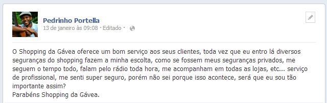 Post do Pedro no Facebook