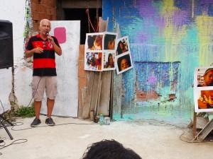 Alan Brum Pinheiro faz discurso no evento ReintegrAÇÃO, no dia 31 de janeiro.