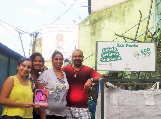 Da esquerda para a direita, os membros do time da Eco Rede: Miriam de Jesus Fernandes, Lidiane Santos Barbosa, Iara Oliveira e Carlos Alberto.