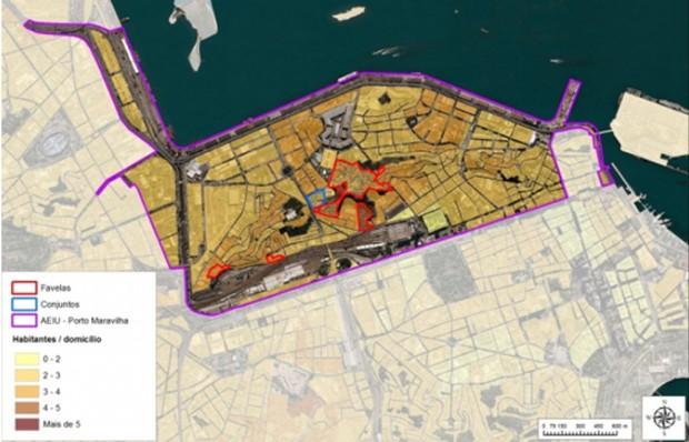 O Mapa mostra a densidade populacional na Área Portuária. As linhas vermelhas representam as favelas, as linhas azuis representam os complexos de apartamentos e as linhas roxas delineiam o projeto do Porto Maravilha.
