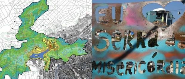 À esquerda- mapa do parque, pela prefeitura; À direita foto do Instituto Raízes em Movimento