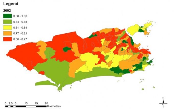 Figura 1B. Distribuição geoespacial dos Índices de Saúde Urbana (UHI) nos bairros do Rio de Janeiro, 2002.