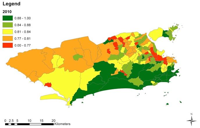 Figura 1A. Distribuição geoespacial dos Índices de Saúde Urbana (UHI) nos bairros do Rio de Janeiro, 2010.