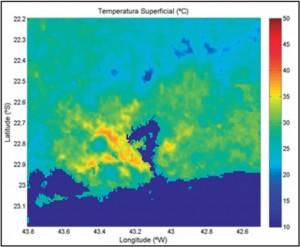 Média da temperatura superficial continental no verão em 13h UTC (10h, horário do Rio)