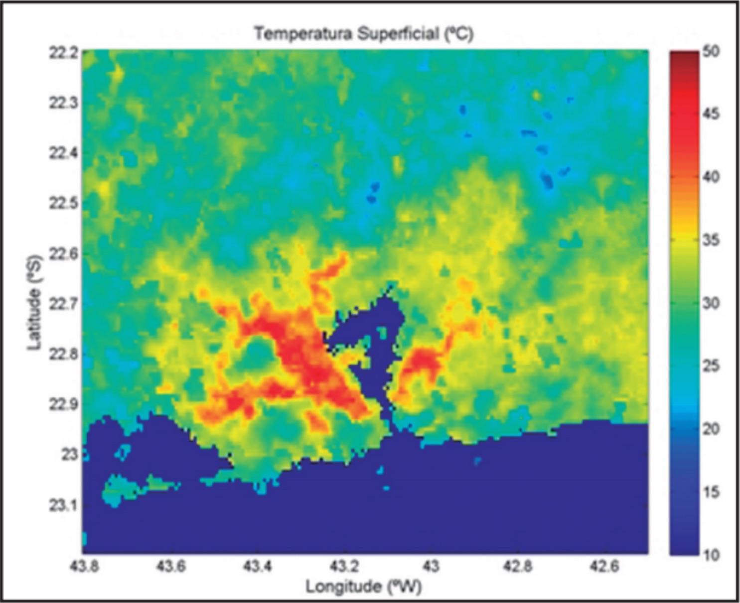 Média da temperatura Superficial Continental no verão no 16:00 UTC (13:00, horário do Rio).