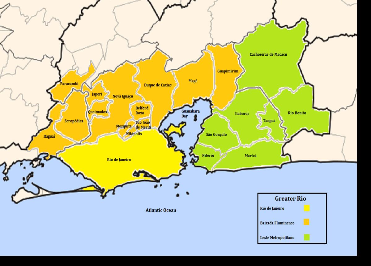 Mapa da região metropolitana do Rio