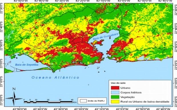 Uso da terra na região metropolitana do Rio nos anos 2000. Mapa do bit.ly/1hioIEc