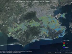 Mapa mostra a distribuição racial dos brancos (azul), pardos (verde) e pretos (vermelho), na cidade do Rio de Janeiro