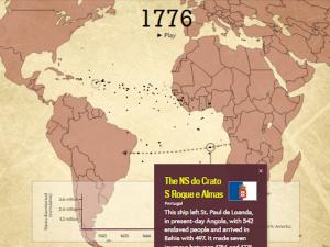 Mapa interativo do comércio de escravos no Atlântico por Slate