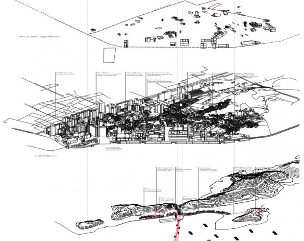 A região do Porto vista do mar, comparando hoje (meio) com aquele que chegavam africanos escravizados e como eles o veriam dos navios (em baixo). Imagem cortesia de Sara Zewde