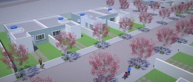 Casas projetadas no plano da prefeitura para a Vila Autódromo. Imagem da Prefeitura do Rio