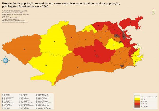 1381_proporção da população moradora em setor subnormal no total da população - 2000