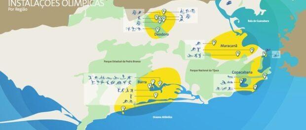 Mapa com as instalações esportivas dos Jogos Olímpicos do Rio 2016