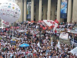 Manifestação de professores em protesto