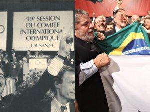 1. Prefeito Pascual Maragall de Barcelona  2. Lula com Paes, respectivamente, celebrando a vitória de suas propostas para sediar as Olimpíadas. Fotos por RTVE e Agência Brasil
