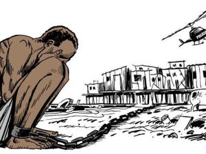 Imagem compartilhada nas mídias sociais em resposta a uma nova detenção de Rafael Braga em 2016. Latuff 2008