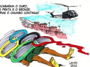 """""""Acabaram o ouro, prata e bronze, mas o chumbo continua""""! Cartoon por Carlos Henrique Latuff"""