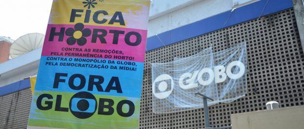 Protesto dos moradores da comunidade do Horto em frente ao prédio da Globo