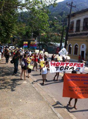 Protesto no Horto. Foto da página Mídia1508 no Facebook