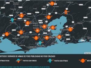 Captura de tela dos tiroteios mapeados no Rio de Janeiro a partir de 12 a 19 julho 2016