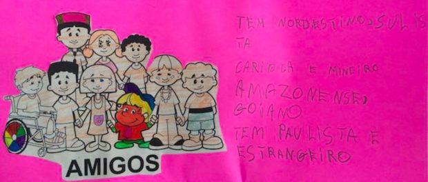 Arte infantil sobre os migrantes em Rio das Pedras