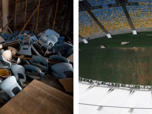 Maracanã, o local onde foram realizadas a abertura e encerramento dos Jogos, em ruínas, com assentos rasgados e revirados e o gramado com manchas marrons. Silvia Izquierdo / Associated Press; Nacho Doce, via Reuters