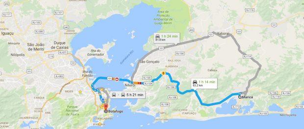Percurso do transporte da casa em Maricá até o hospital em Botafogo para o tratamento da microcefalia