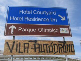 Entrada da Vila Autódromo, ao lado do Parque Olímpico. Foto: Página do Facebook da Vila Autódromo.