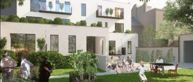 Verheyden / Le Nid, 'O Ninho', um projeto para unidades habitacionais de 7 apartamentos, em Bruxelas, incluindo espaços comuns, acessibilidade para pessoas com deficiência, jardins e escritórios para organizações sem fins lucrativos. Imagem: Website do CLT Brussels
