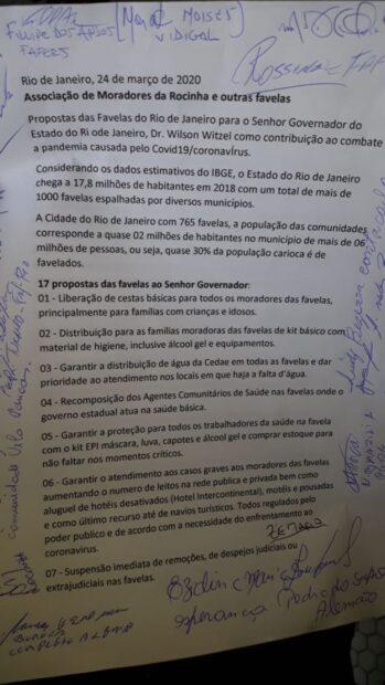 Carta enviada pela Associação de Moradores da Rocinha. Foto: https://bbc.in/2UtAJSm