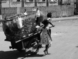 Catadora carrega uma carroça. Foto: Cícero R. C. Omena