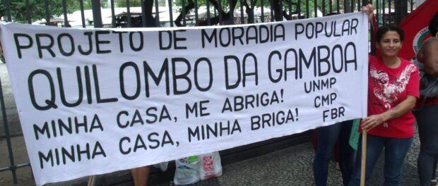Quilombo da Gamboa em protesto. Foto tirada da página do Facebook Quilombo da Gamboa.