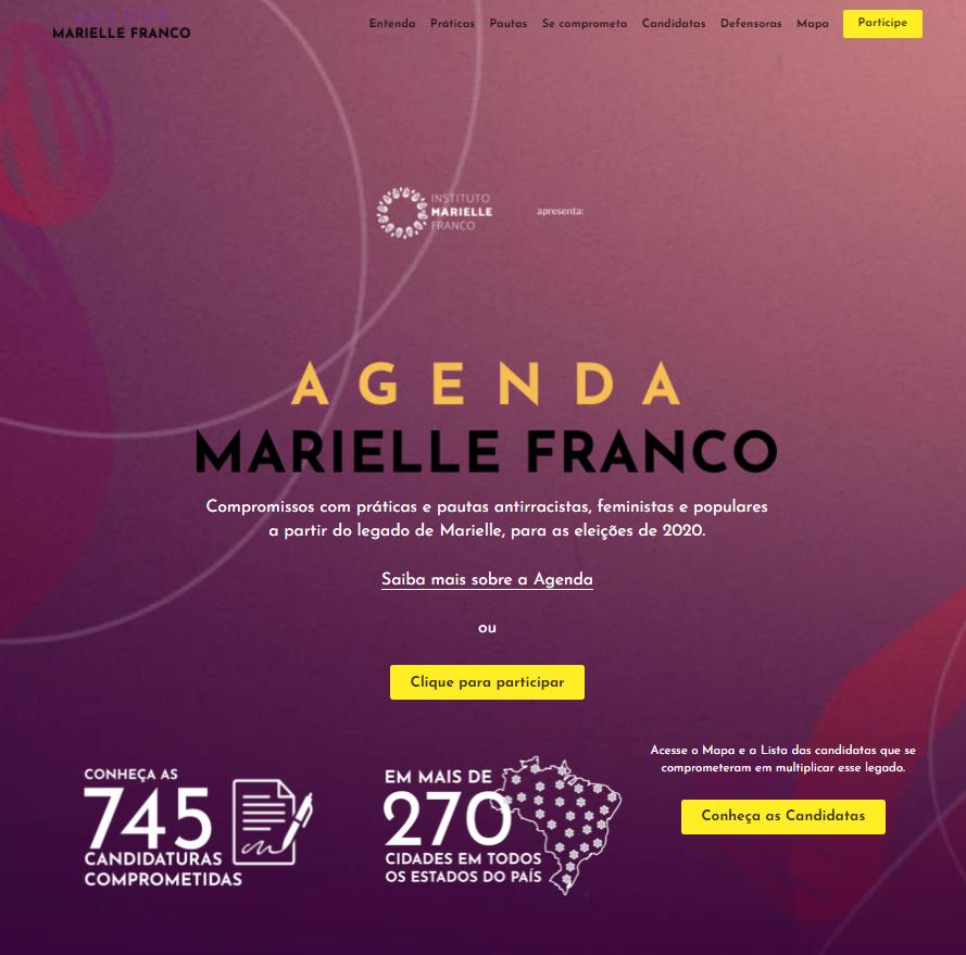 Agenda Marielle, uma agenda pública de compromisso com o legado de Marielle, promovido pelo Instituto Marielle Franco.