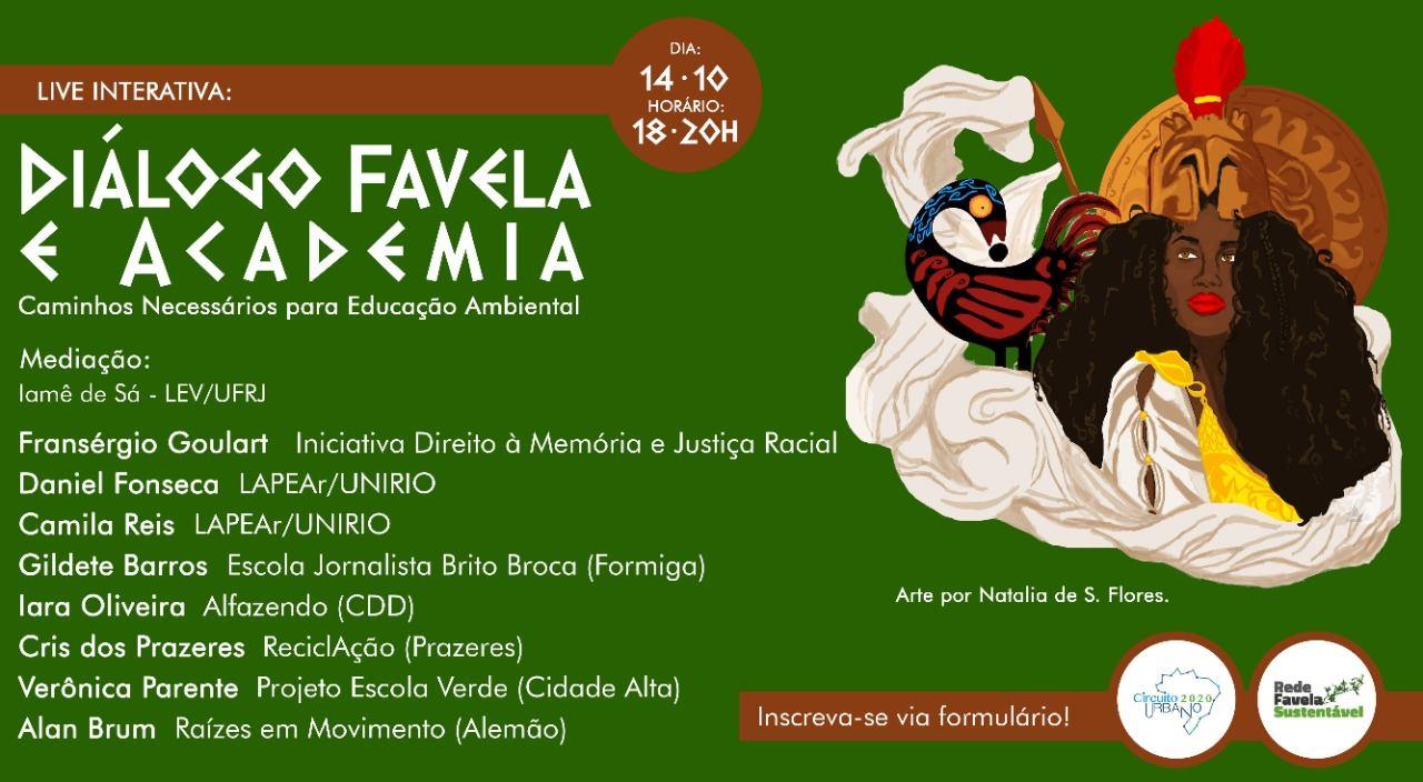 """Live """"Diálogo Favela e Academia Caminhos Necessários Para Educação Ambiental"""" do GT Educação Ambiental da Rede Favela Sustentável."""