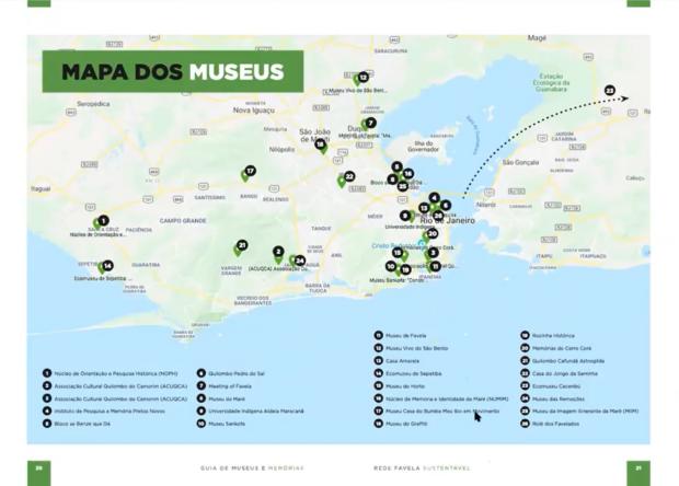Mapa dos museus de favela reunidos no Guia de Museus da Rede Favela Sustentável.