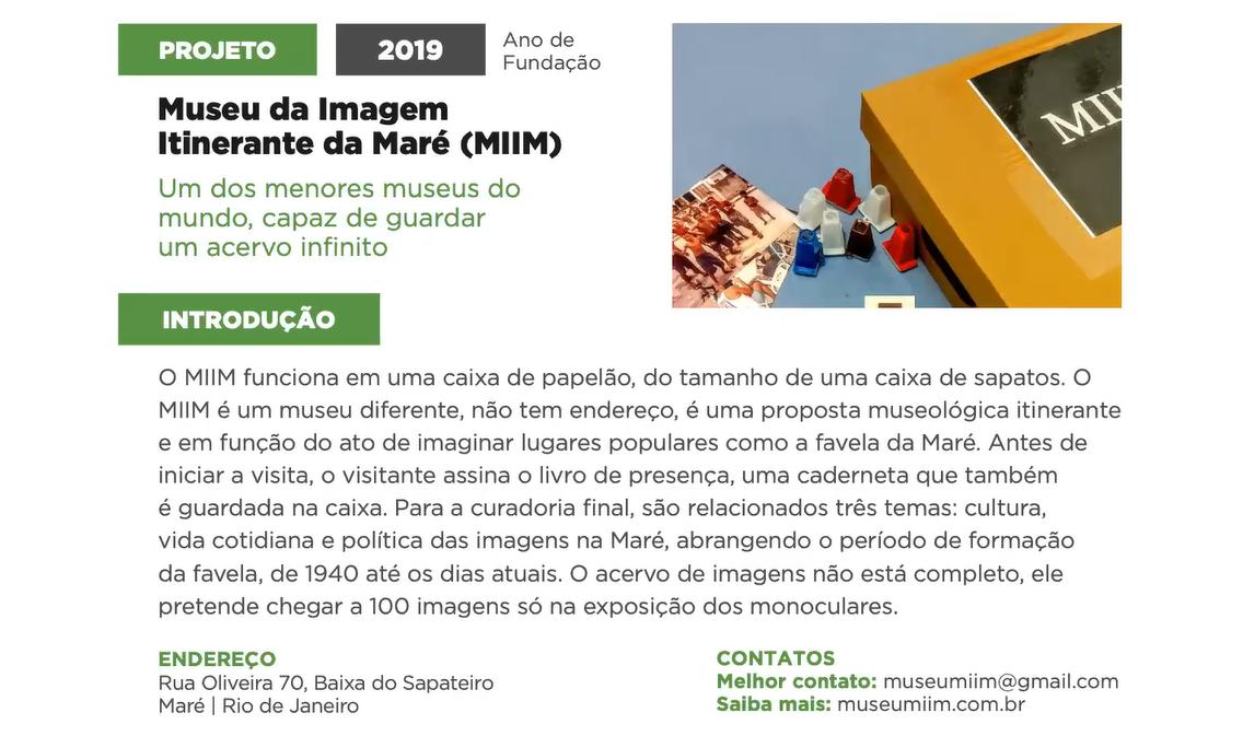 Perfil do Museu da Imagem Itinerante da Maré (MIIM) no Guia de Museus e Memórias da Rede Favela Sustentável