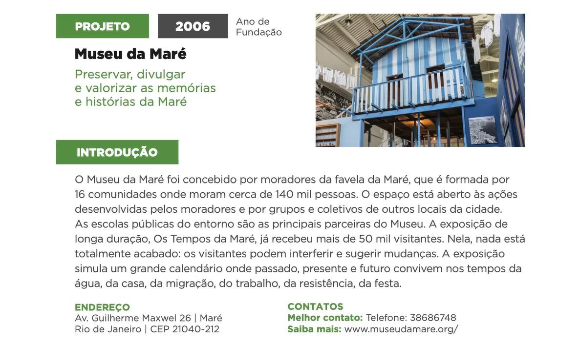 Perfil do Museu da Maré no Guia de Museus e Memórias da Rede Favela Sustentável