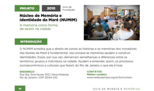 Perfil do Núcleo de Memória e Identidade da Maré (NUMIM) no Guia de Museus e Memórias da Rede Favela Sustentável