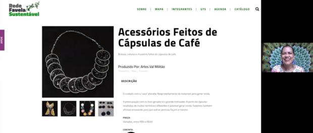 Valdirene Militão e seus artesanatos sustentáveis feitos com cápsulas de café, divulgados pelo Catálogo Rede Favela Sustentável.