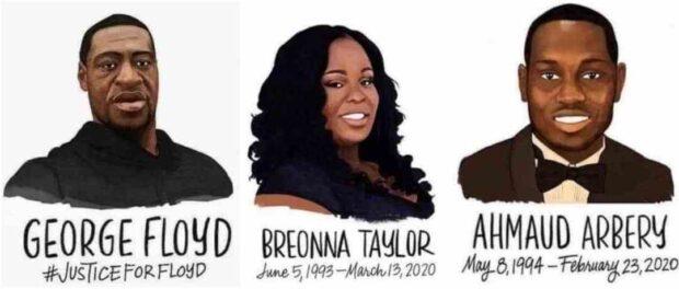 George Floyd, Breonna Taylor e Ahamaud Arbery. Ilustração do site Struggle-La Lucha