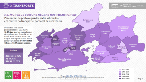 Mapa das Desigualdades - Mortes de pessoas negras no transporte. Casa Fluminense