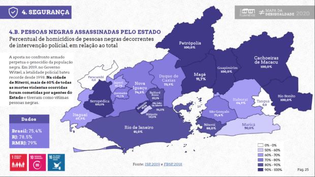 Pessoas negras assassinadas pelo Estado. Fonte: Mapa das Desigualdades/Casa Fluminense