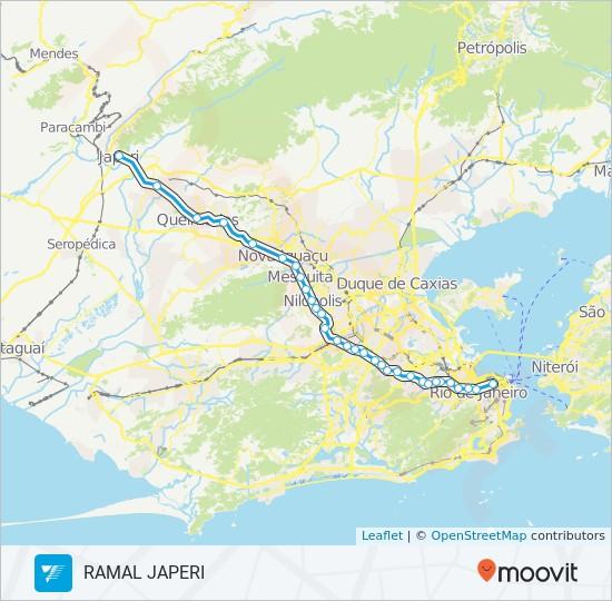 Ramal Central - Japeri da SuperVia. Fonte: Moovit