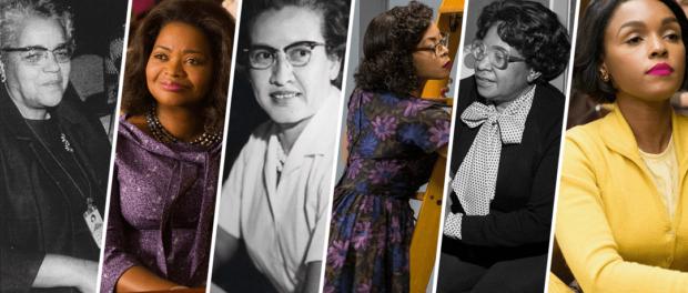 """As cientistas Katherine Johnson, Dorothy Vaughan e Mary Jackson junto ao elenco do filme """"Estrelas além do Tempo"""""""