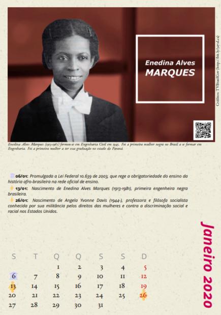 """Enedina Alves Marques (1913-1981), a primeira mulher negra a se formar em engenharia civil no Brasil, no calendário """"Cientistas Negras""""."""