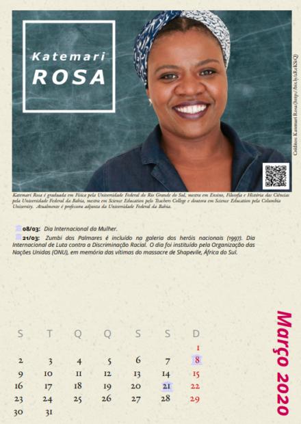 """Katemari Rosa, física e professora da UFBA, no calendário """"Cientistas Negras""""."""