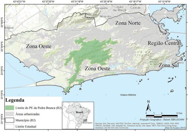 Mapa do Maciço da Pedra Branca, um dos últimos trechos originais de Mata Atlântica da cidade do Rio de Janeiro.