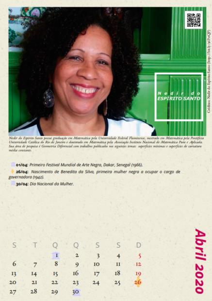 """Nedir do Espírito Santo, matemática formada pela UFF, no calendário """"Cientistas Negras""""."""