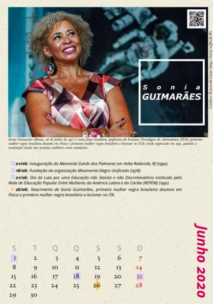"""Sônia Guimarães, física e professora do Instituto Tecnológico da Aeronáutica (ITA), no calendário """"Cientistas Negras"""""""