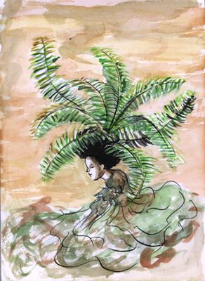 'Para todas aquelas que como eu, têm cabelo de xaxim', postou a artista Alice Prina em seu blog. Fonte blog aliceprina.wordpress.com